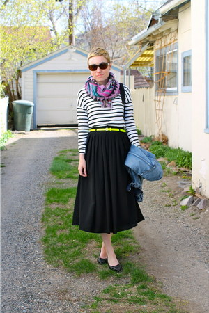 black bag - salmon scarf - lime green belt - black skirt - white blouse