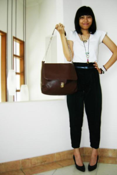 Topshop t-shirt - DIY pants - moms vintage belt belt - oxford heels shoes - orig
