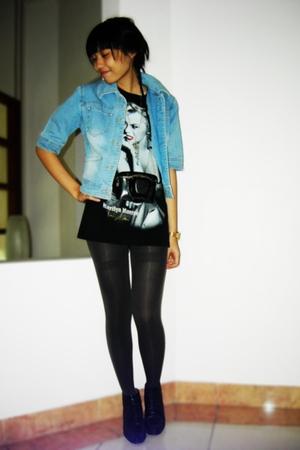 thrift store denim jacket - junk food marlyn monroe t-shirt - unbranded tights -