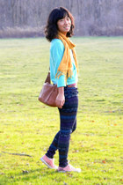 gold no brand scarf - pink China shoes - navy American Eagle jeans