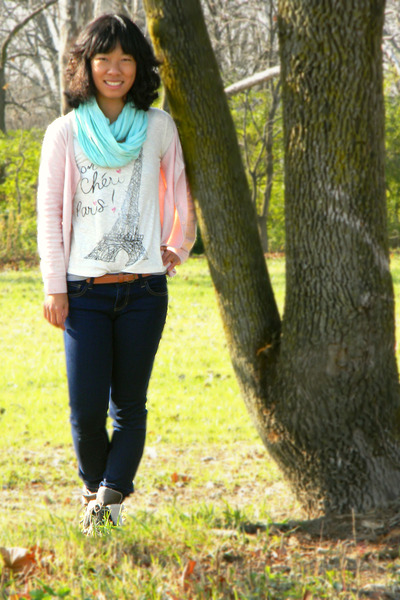 ivory Delias top - aquamarine China scarf - light pink H&amp;M cardigan