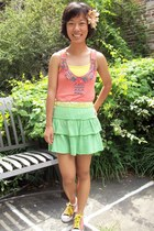 orange American Rag top - chartreuse no brand skirt - nude Flower accessories