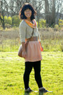 Tan-moms-sweater-light-orange-prague-scarf-brown-thrifted-bag