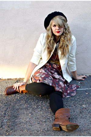 cream thrifted vintage jacket - maroon vintage from Ebay dress - tan vintage bel