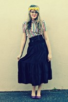 off white vintage blouse - black Nordstrom skirt - yellow Candy Clips by B neckl