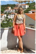 orange asos dress - brown Urban Outfitters shoes - brown Ebay accessories