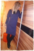 purple La Redoute dress - black asos shoes - black Mango leggings
