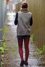 Black-top-blue-thrifted-shorts-gray-thrifted-vest-red-myer-tights-blac
