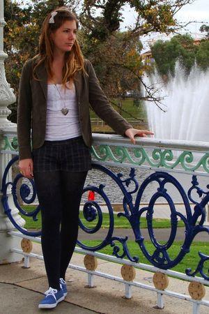 brown - blazer - white cotton on shirt - blue Ripcurl shorts - black Myers tight