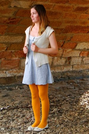 white Just jeans cardigan - blue IDS dress - yellow Myers tights - white acousti