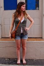 brown Just jeans vest - white top - blue Temt shorts - brown Novo shoes - brown