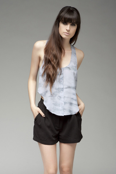 light blue tank silk Reformation top