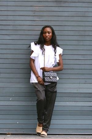 black Chanel bag - white MSGM top - nude Chanel flats - gray LF pants
