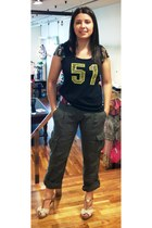 black fashion denny rose t-shirt - olive green military Miss Sixty pants