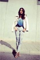 animal print Zara jeans - studs Zara jacket - tie dye Zara blouse