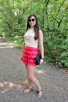 ivory Zara blouse - black Zara Trf bag - hot pink striped shorts asos shorts