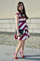 ruby red Zara sandals - crimson striped dress asos dress - black Zara Trf bag