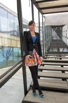 flower print Zara skirt - v-neck Orsay sweater - Zara blazer