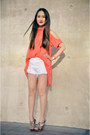 White-distressed-levis-shorts-salmon-cutout-foreign-exchange-top