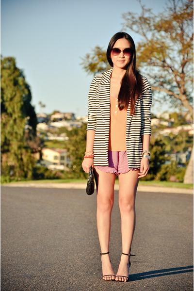 white stripes Forever 21 blazer - light purple ruffles foreign exchange shorts