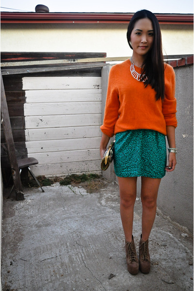 teal vintage skirt - light brown litas Jeffrey Campbell boots
