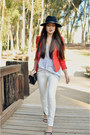 Black-urban-outfitters-hat-red-hm-blazer-white-zara-pants