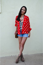 red polka dot vintage jacket - light brown lita Jeffrey Campbell boots