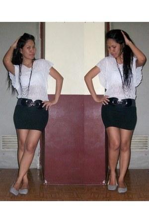 black skirt - heather gray flats - white blouse - black necklace - black belt