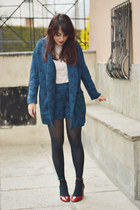 brown Zara jacket - navy asos blazer - navy asos shorts - red Zara heels