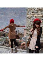 beige hem dress - camel Stradivarius coat - red Tally Weijl hat