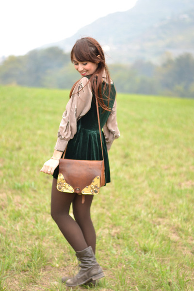 dark brown vintage bag - dark green handmade dress - army green handmade jacket