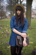 navy Zara dress - nude boater hat vintage hat - dark brown satchel vintage bag