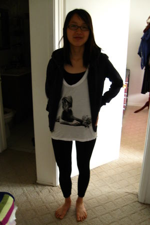 black Forever 21 shirt - white shirt - black leggings - Old Navy jacket