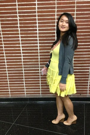 yellow Forever 21 dress - pink MINE dress - neutral wedges Old Navy shoes
