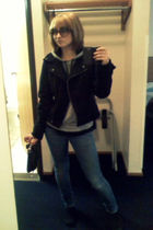 black Forever 21 jacket - blue Pac Sun jeans - silver Forever 21 top - black Cha