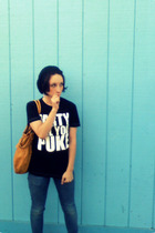 hat - PartyTillYouPuke t-shirt - Skinnies jeans - purse - YouCantSeeThem shoes