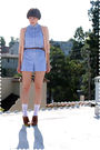 Orange-modcloth-cardigan-blue-shorts-brown-urban-outfitters-belt-white-soc