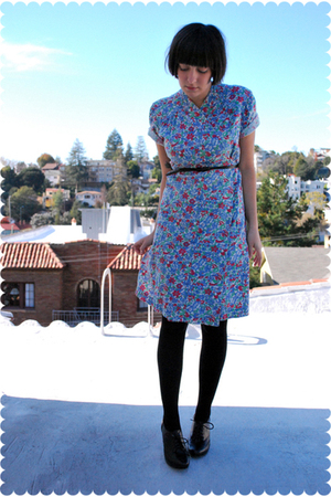 vintage dress - Urban Outfitters belt - Wolford stockings - seychelles shoes