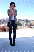 gray cashmere JCrew cardigan - black Payless shoes