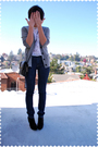 Gray-jcrew-cardigan-beige-blouse-blue-indidenim-jeans-black-payless-shoes-
