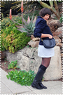 Blue-blazer-blue-dress-blue-coach-purse-black-tabio-stockings-black-sock