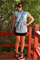 blue chambray H&M blouse - black wedge Steve Madden shoes