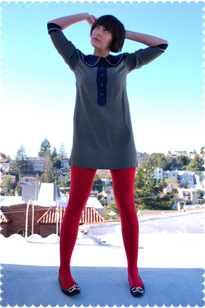 blue lanz originals dress - red Tabio stockings - black Juicy Couture shoes