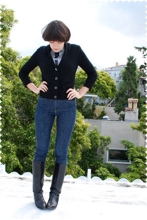 black cardigan - blue blouse - blue jeans - black boots