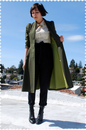 beige BB Dakota blouse - black vintage Justin boots - green vintage coat