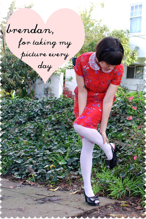 red dress - white Drug store stockings - black remix vintage shoes shoes - black
