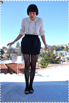 vintage blouse - American Apparel skirt - Target stockings - Juicy Couture shoes