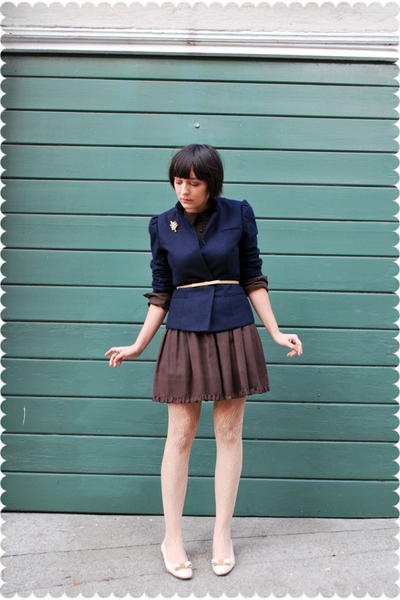 blue blazer - brown Jonathan Logan dress - beige Nordstrom belt - beige Tabio st