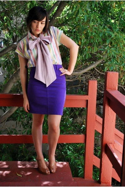 thrifted vintage blouse - American Apparel skirt - American Apparel accessories