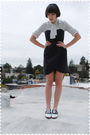 White-blouse-black-h-m-dress-black-payless-shoes